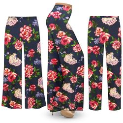 Customizable Plus Size Camden Floral SLINKY Print Palazzo Pants - Tapered Pants - Sizes L XL 1x 2x 3x 4x 5x 6x 7x 8x 9x