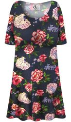 Customizable Plus Size Camden Floral SLINKY Short Sleeve Shirt - Sizes L XL 1x 2x 3x 4x 5x 6x 7x 8x 9x
