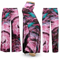 SALE! Customizable Plus Size Feather Dance SLINKY Print Palazzo Pants - Tapered Pants - Sizes L XL 1x 2x 3x 4x 5x 6x 7x 8x 9x