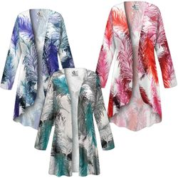 NEW! Customizable Plus Size Feathers SLINKY Print Jackets & Dusters - Sizes L XL 1x 2x 3x 4x 5x 6x 7x 8x 9x