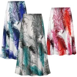 NEW! Customizable Plus Size Feathers Slinky Print Skirts - Sizes L XL 1x 2x 3x 4x 5x 6x 7x 8x 9x