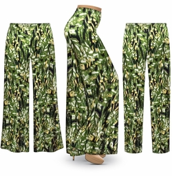 SOLD OUT! NEW! Customizable Plus Size Forest Slinky Print Palazzo Pants - Tapered Pants - Sizes Lg XL 1x 2x 3x 4x 5x 6x 7x 8x 9x