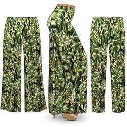 NEW! Customizable Plus Size Forest Slinky Print Palazzo Pants - Tapered Pants - Sizes Lg XL 1x 2x 3x 4x 5x 6x 7x 8x 9x