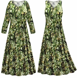 SOLD OUT! SALE! Customizable Plus Size Forest Slinky Print Short or Long Sleeve Dresses & Tanks - Sizes Lg XL 1x 2x 3x 4x 5x 6x 7x 8x 9x
