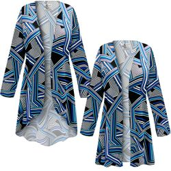 NEW! Customizable Plus Size Geometric SLINKY Print Jackets & Dusters - Sizes L XL 1x 2x 3x 4x 5x 6x 7x 8x 9x