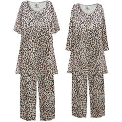 NEW! Customizable Plus Size Gray & Rust Animal Print 2 Piece Pajama Pant Set 0x 1x 2x 3x 4x 5x 6x 7x 8x 9x