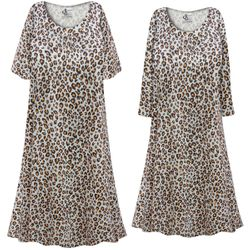 NEW! Customizable Plus Size Gray & Rust Animal Print Sleep Gown - Muumuu - Moo Moo Dress 0x 1x 2x 3x 4x 5x 6x 7x 8x 9x