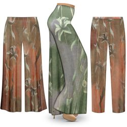 NEW! Customizable Plus Size Green or Brown Lilies Slinky Print Palazzo Pants - Tapered Pants - Sizes Lg XL 1x 2x 3x 4x 5x 6x 7x 8x 9x
