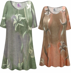 NEW! Customizable Plus Size Green or Brown Lilies Slinky Print Short or Long Sleeve Shirts - Tunics - Tank Tops - Sizes Lg XL 1x 2x 3x 4x 5x 6x 7x 8x 9x
