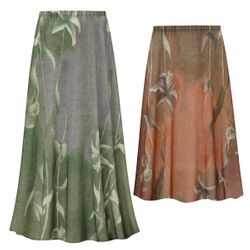 NEW! Customizable Plus Size Green or Brown Lilies Slinky Print Skirts - Sizes Lg XL 1x 2x 3x 4x 5x 6x 7x 8x 9x