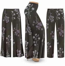 SOLD OUT! NEW! Customizable Plus Size Heathered Olive Floral Slinky Print Palazzo Pants - Tapered Pants - Sizes Lg XL 1x 2x 3x 4x 5x 6x 7x 8x 9x