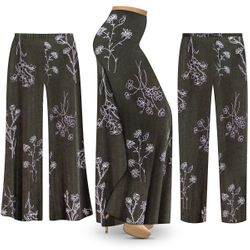 NEW! Customizable Plus Size Heathered Olive Floral Slinky Print Palazzo Pants - Tapered Pants - Sizes Lg XL 1x 2x 3x 4x 5x 6x 7x 8x 9x