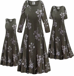 SOLD OUT! NEW! Customizable Plus Size Heathered Olive Floral Slinky Print Short or Long Sleeve Dresses & Tanks - Sizes Lg XL 1x 2x 3x 4x 5x 6x 7x 8x 9x