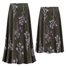 NEW! Customizable Plus Size Heathered Olive Floral SLINKY Print Skirts - Sizes Lg XL 1x 2x 3x 4x 5x 6x 7x 8x 9x