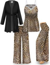 NEW! Customizable Plus Size Leopard Print Tank, Jacket, and Palazzo Ribbed Lounge SLINKY SET - Sizes L XL 1x 2x 3x 4x 5x 6x 7x 8x 9x