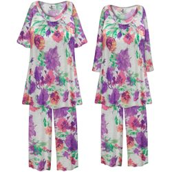 NEW! Customizable Plus Size LIGHT WEIGHT Pretty in Purple Floral Print 2 Piece Pajama Pant Set 0x 1x 2x 3x 4x 5x 6x 7x 8x 9x