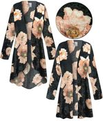 CLEARANCE!  Plus Size Black & Pink Floral Crush Velvet Print Jackets & Dusters - Sizes 1x