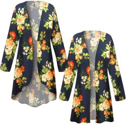 NEW! Customizable Plus Size Navy & Orange Roses Slinky Print Jackets & Dusters - Sizes L XL 1x 2x 3x 4x 5x 6x 7x 8x 9x