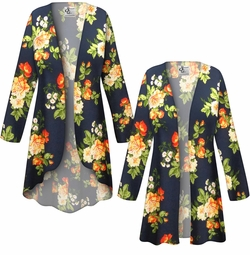 SALE! Customizable Plus Size Navy & Orange Roses Slinky Print Jackets & Dusters - Sizes L XL 1x 2x 3x 4x 5x 6x 7x 8x 9x