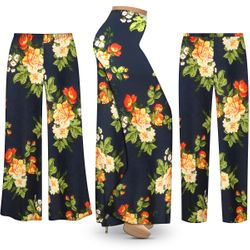 NEW! Customizable Plus Size Navy & Orange Roses Slinky Print Palazzo Pants - Tapered Pants - Sizes Lg XL 1x 2x 3x 4x 5x 6x 7x 8x 9x