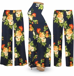 SALE! Customizable Plus Size Navy & Orange Roses Slinky Print Palazzo Pants - Tapered Pants - Sizes Lg XL 1x 2x 3x 4x 5x 6x 7x 8x 9x