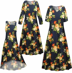SALE! Customizable Plus Size Navy & Orange Roses Slinky Print Short or Long Sleeve Dresses & Tanks - Sizes Lg XL 1x 2x 3x 4x 5x 6x 7x 8x 9x