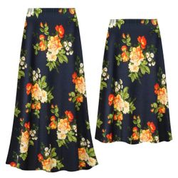 NEW! Customizable Plus Size Navy & Orange Roses Slinky Print Skirts - Sizes Lg XL 1x 2x 3x 4x 5x 6x 7x 8x 9x