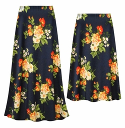 SALE! Customizable Plus Size Navy & Orange Roses Slinky Print Skirts - Sizes Lg XL 1x 2x 3x 4x 5x 6x 7x 8x 9x