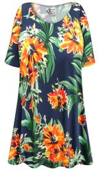 NEW! Customizable Plus Size Navy & Orange Tropical Floral Slinky Print Short or Long Sleeve Shirts - Tunics - Tank Tops - Sizes Lg XL 1x 2x 3x 4x 5x 6x 7x 8x 9x