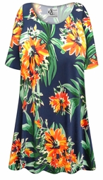 SALE! Customizable Plus Size Navy & Orange Tropical Floral Slinky Print Short or Long Sleeve Shirts - Tunics - Tank Tops - Sizes Lg XL 1x 2x 3x 4x 5x 6x 7x 8x 9x
