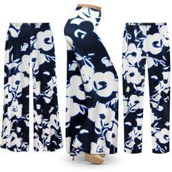 NEW! Customizable Plus Size Navy & White Floral Slinky Print Palazzo Pants - Tapered Pants - Sizes Lg XL 1x 2x 3x 4x 5x 6x 7x 8x 9x