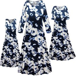 NEW! Customizable Plus Size Navy & White Floral Slinky Print Short or Long Sleeve Dresses & Tanks - Sizes Lg XL 1x 2x 3x 4x 5x 6x 7x 8x 9x