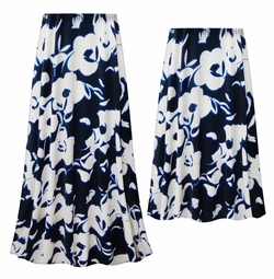 NEW! Customizable Plus Size Navy & White Floral Slinky Print Skirts - Sizes Lg XL 1x 2x 3x 4x 5x 6x 7x 8x 9x