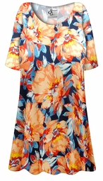 SOLD OUT! Customizable Plus Size Orange Blooms Slinky Print Short or Long Sleeve Shirts - Tunics - Tank Tops - Sizes Lg XL 1x 2x 3x 4x 5x 6x 7x 8x 9x