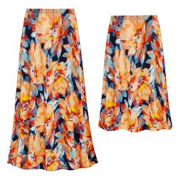SALE! Customizable Plus Size Orange Blooms Slinky Print Skirts - Sizes Lg XL 1x 2x 3x 4x 5x 6x 7x 8x 9x