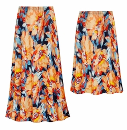 SOLD OUT! Customizable Plus Size Orange Blooms Slinky Print Skirts - Sizes Lg XL 1x 2x 3x 4x 5x 6x 7x 8x 9x