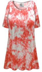 NEW! Customizable Plus Size Orange Tie Dye Print Extra Long Poly/Cotton T-Shirts 0x 1x 2x 3x 4x 5x 6x 7x 8x 9x