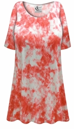 Customizable Plus Size Orange Tie Dye Print Extra Long Poly/Cotton T-Shirts 0x 1x 2x 3x 4x 5x 6x 7x 8x 9x