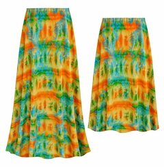 NEW! Customizable Plus Size Orange Tropical Floral Slinky Print Skirts - Sizes Lg XL 1x 2x 3x 4x 5x 6x 7x 8x 9x