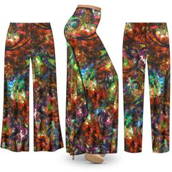 NEW! Customizable Plus Size Paisley Slinky Print Palazzo Pants - Tapered Pants - Sizes Lg XL 1x 2x 3x 4x 5x 6x 7x 8x 9x