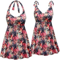 SOLD OUT! Customizable Plus Size Palms Print Halter or Shoulder Strap 2pc Swimsuit/SwimDress 0x 1x 2x 3x 4x 5x 6x 7x 8x 9x