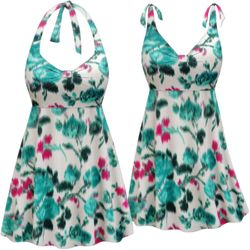 Customizable Plus Size Paradise Oasis Print Halter or Shoulder Strap 2pc Swimsuit/SwimDress 0x 1x 2x 3x 4x 5x 6x 7x 8x 9x