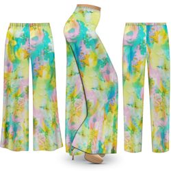 NEW! Customizable Plus Size Pastel Abstract Slinky Print Palazzo Pants - Tapered Pants - Sizes L XL 1x 2x 3x 4x 5x 6x 7x 8x 9x