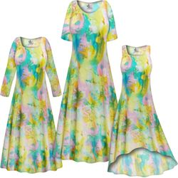 NEW! Customizable Plus Size Pastel Abstract SLINKY Print Short or Long Sleeve Dresses & Tanks - Sizes L XL 1x 2x 3x 4x 5x 6x 7x 8x 9x