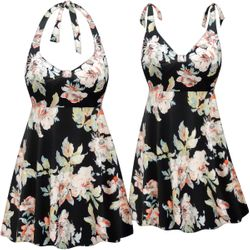 Customizable Plus Size Peony Floral Print Halter or Shoulder Strap 2pc Swimsuit/SwimDress 0x 1x 2x 3x 4x 5x 6x 7x 8x 9x