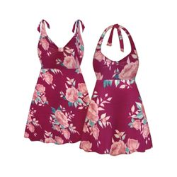 NEW! Customizable Plus Size Pink Floral Print Halter or Shoulder Strap 2pc Swimsuit/SwimDress 0x 1x 2x 3x 4x 5x 6x 7x 8x 9x