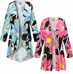 NEW! Customizable Plus Size Pink or Blue Floral SLINKY Print Jackets & Dusters - Sizes L XL 1x 2x 3x 4x 5x 6x 7x 8x 9x