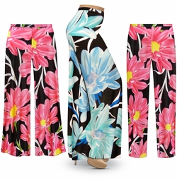 SALE! Customizable Plus Size Pink or Blue Floral SLINKY Print Palazzo Pants - Tapered Pants - Sizes L XL 1x 2x 3x 4x 5x 6x 7x 8x 9x