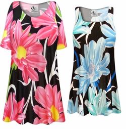 SALE! Customizable Plus Size Pink or Blue Floral SLINKY Print Short or Long Sleeve Shirts - Tunics - Tank Tops - Sizes L XL 1x 2x 3x 4x 5x 6x 7x 8x 9x