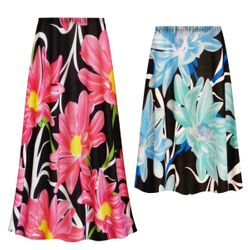 NEW! Customizable Plus Size Pink or Blue Floral Slinky Print Skirts - Sizes L XL 1x 2x 3x 4x 5x 6x 7x 8x 9x